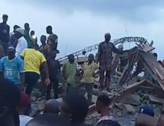 ...the collapsed building in Ibadan...on Friday...
