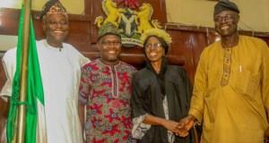 R-L: Speaker, Hon. Olagunju Ojo, Clerk, Felicia Oyediran, Deputy Speaker, Hon. Musah Abdulwasi and Majority Leader, Hon. Kehinde Subair shortly after the swearing-in…