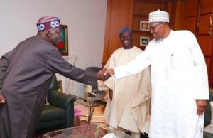 L-R: Senator Bola Tinubu, Chief Bisi Akande and President Muhammadu Buhari...