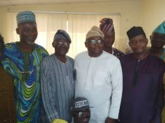 Chief Adelabu Adebayo, in white, with others at the Oyo State Secretariat of APC...