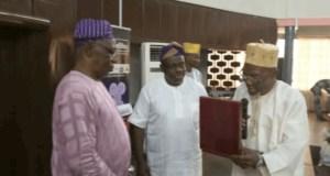 L-R: Professor Hakeem Olumide Danmole, Mr Seye Oyeleye and Professor Dawud Noibi...at the event...