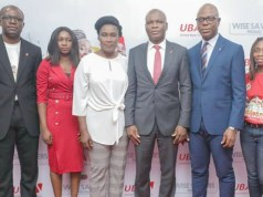 L-R: Head, Brand Management, United Bank for Africa (UBA) Plc. Lashe Osoba; Officer,, Lagos Lottery Board, Nike Oyebamiji; Head Lagos Office, Consumer Protection Council, (CPC) Susie Onwuka; Executive Director, UBA Plc, Liadi Ayoku; Head, FMCG, UBA Plc. Isiuwe Chike; and Mass Retail/Agent Banking Manager, UBA Plc, Bolajoko Agunlejika at the 2nd Quarterly Draw of UBA Wise Savers Promo where 20 Savings Account Holders won N1.5m each, in Lagos…