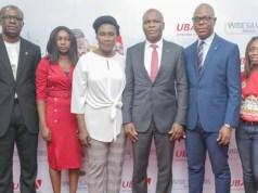 L-R: Head, Brand Management, United Bank for Africa (UBA) Plc. Lashe Osoba; Officer,, Lagos Lottery Board, Nike Oyebamiji; Head Lagos Office, Consumer Protection Council, (CPC) Susie Onwuka; Executive Director, UBA Plc, Liadi Ayoku; Head, FMCG, UBA Plc. Isiuwe Chike; and Mass Retail/Agent Banking Manager, UBA Plc, Bolajoko Agunlejika at the 2nd Quarterly Draw of UBA Wise Savers Promo where 20 Savings Account Holders won N1.5m each, in Lagos…