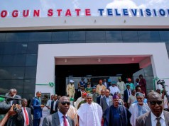 President Muhammadu Buhari and others after commissioning the OGTV Complex...