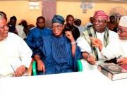 Osun's Governor Adegboyega Oyetola (2nd left), Aragbiji of Iragbiji, Oba Abdurasheed Ayotunde Olabomi (2nd right), Akirun of Ikirun, Oba Abdulrauf Olayiwola Adedeji (left), and Olororuwo of Ororuwo, Oba Qamar'deen Adeyanju Alawode (right)…at the religious event…
