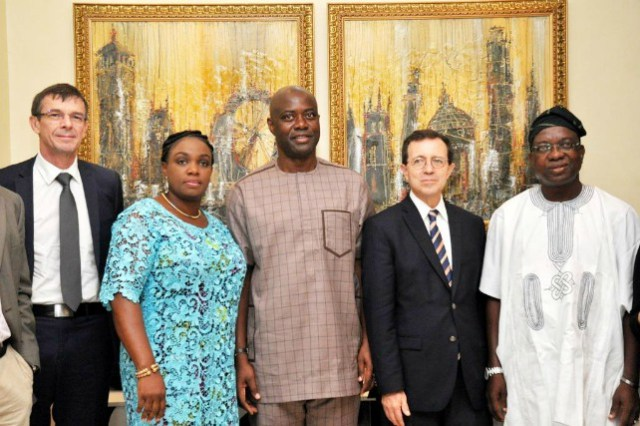 From left, Consular General of France in Lagos, Mr Poloncacox Laurent, wife of Oyo State governor elect, Mrs Omini Makinde, governor elect, Engr Seyi Makinde, French Ambassador to Nigeria, Mr Pasquier Jerome and deputy governor-elect, Engr Rauf Olaniyan during the visit…