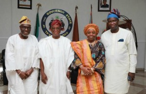 The Governor of Osun State, Mr Gboyega Oyetola (2nd left); his deputy, Mr Gboyega Alabi (right); first president of the Nigeria Labour Congress (NLC) Hassan Sumonu, Dr Hassan Sumonu (left) and his wife, Alhaja Wasilat, during the dinner…