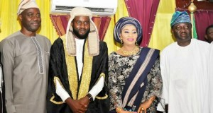 L-R: Oyo State governor, Engr Seyi Makinde, speaker State House of Assembly, Hon Debo Ogundoyin his mother, Chief (Mrs) Tina Ogundoyin and Deputy Speaker, Hon Abiodun Fadeyi…after the inauguration exercise…