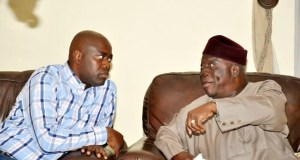 Governor Seyi Makinde, left, with Chief Ayo Adebanjo...during the visit...