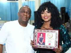 Bola Solate...right, with the Publisher of City People Magazine, Dr Seye Kehinde...at the event...