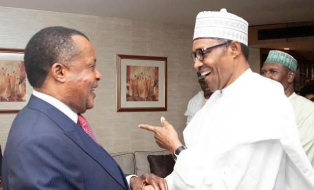 President Muhammadu Buhari, right, with President Denis Sassou Nguesso…