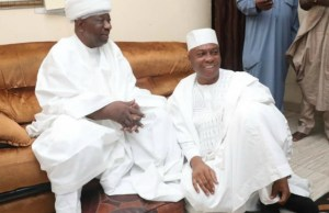 President of the 8th Senate, Dr. Bukola Saraki, right during the condolence visit to the Emir of Ilorin, His Royal Highness, Alh. (Dr.) Ibrahim Sulu Gambari…