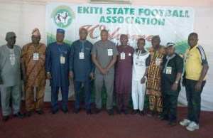 The newly elected Ekiti State Executives of the Ekiti State Football Association and the representative and Chairman of Chairmen of the States Football Associations who stood in for the Nigerian Football Federation (NFF) President at the Ekiti State Election and Congress...