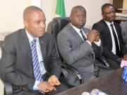 ...Mr Friday Ebelo, with other senior EFCC officials at the media parley...