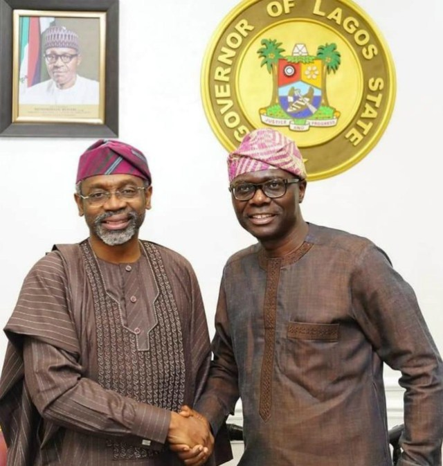 Rt Hon Femi Gbajabiamila, left, with Governor Babajide Sanwo-Olu...celebrants...