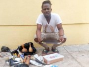 Johnson Okuselu…one of the convicts with his 'arsenal of tools'…