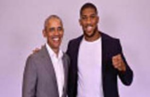 Left, Ex-President Barack Obama, with Anthony Joshua...