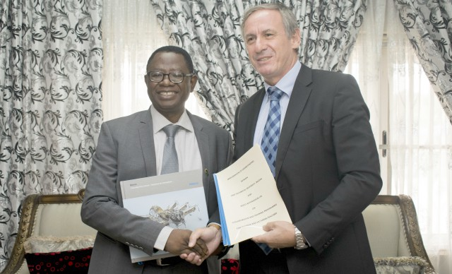 Professor Ayobami Salami, Vice Chancellor, First Technical University (Tech-U), Ibadan (right) with the West African Director of Festo Didactic, Mr. Peter Sengpiel after an MoU was signed between the two organisations...