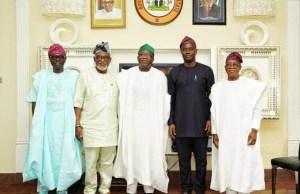 L-R: Governors Babajide Sanwo Olu, Oluwarotimi Akeredolu, Kayode Fayemi, Seyi Makinde and Gboyega Oyetola...at the meeting...