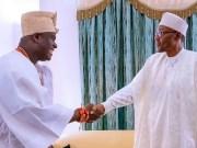 The Ooni of Ife, Oba Adeyeye Ogunwusi, left, with President Muhammadu Buhari...during the monarch's visit to Aso Rock...