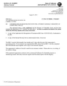 California nonprofit registratin confirmation