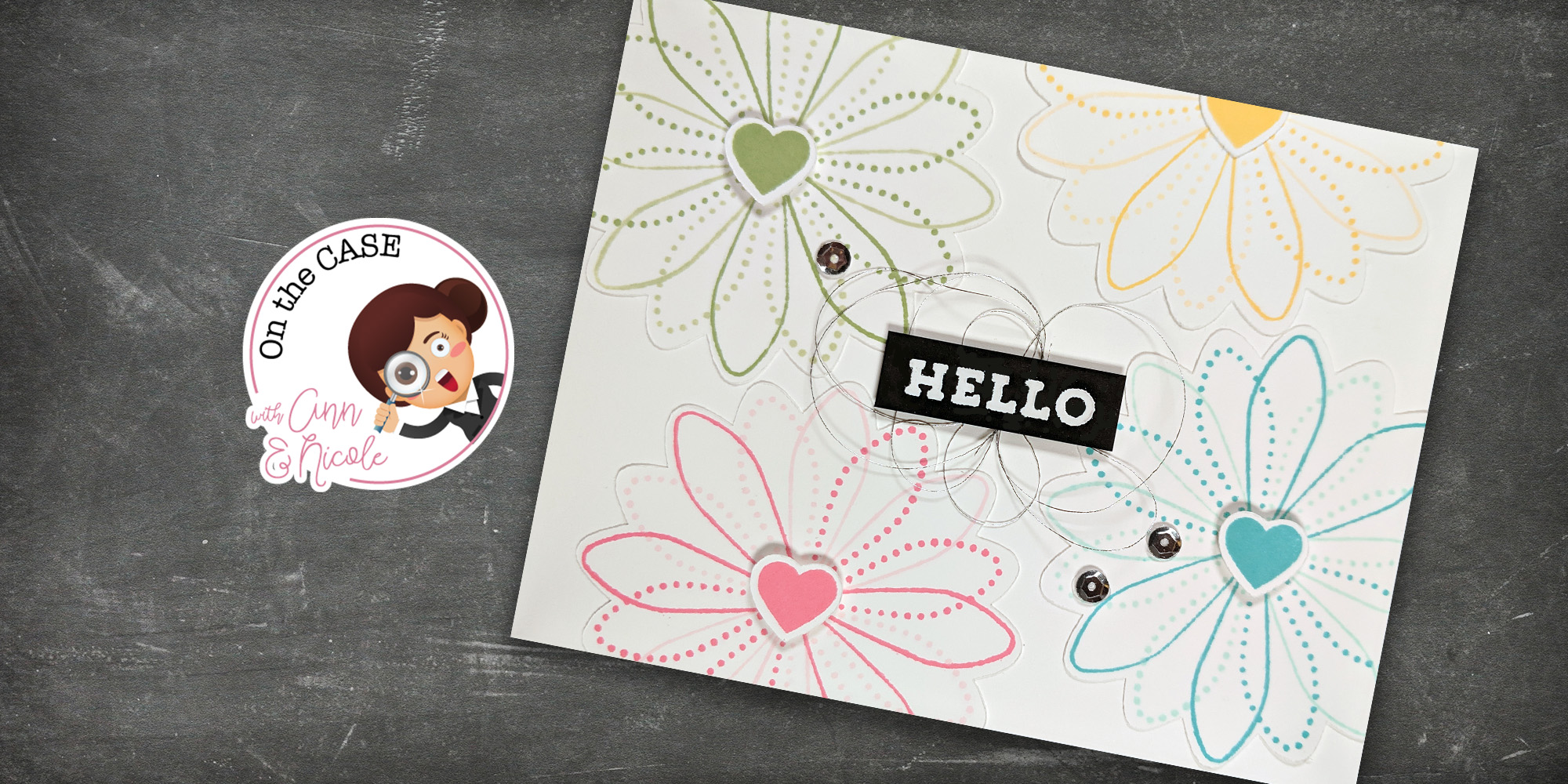 For On the CASE with Ann & Nicole (January 2019). Featuring, Spirograph Turnabout stamp set (Concord & 9th). For more details including step-by-step instructions for CASE-ing this card , click through. #pmretreat #concordand9th #spirograph #floral #hello #handstamped