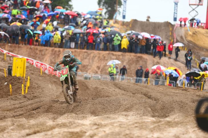 An impressive second moto win in the rain vaulted Tomac to second overall.