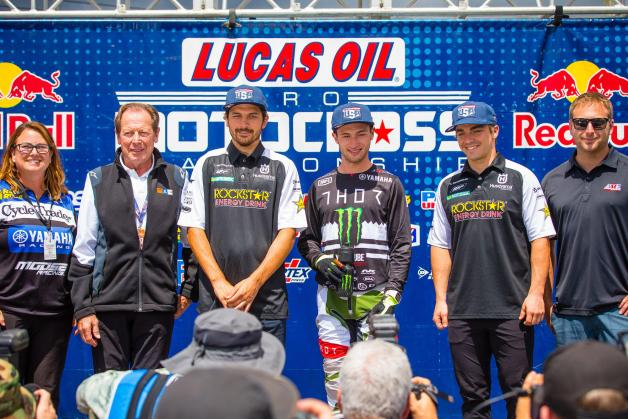 2019 U.S. riders Jason Anderson (third from left), Justin Cooper (third from right), and Zach Osborne (second from right) were joined by Christina Denney (far left), Roger DeCoster (second from left), and Mike Pelletier (far right).