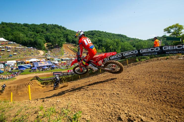 Jett Lawrence battled through adversity tofinish fourth, but lost his hold of the red plate.
