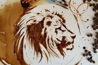 Coffee Art Lion Step by Step Tutorial