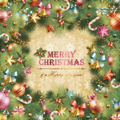 Template Xmas Card With Tree Frame Free Vector Clipartme