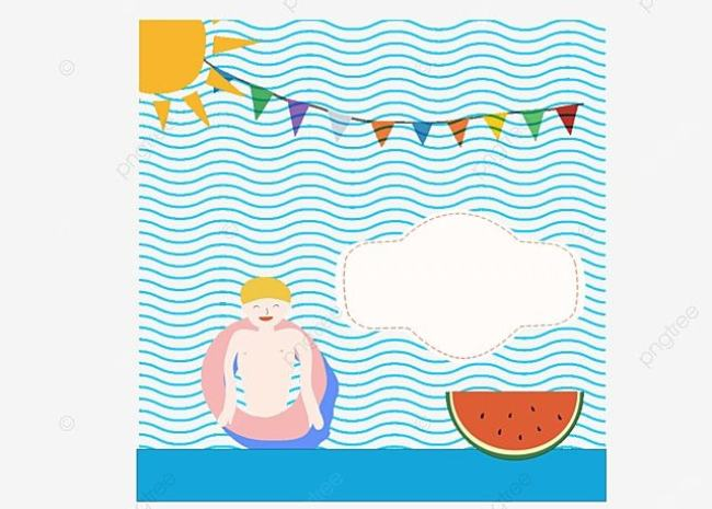 Creative Pool Party Invitation Card Vector Diagram Boy Blue Png And