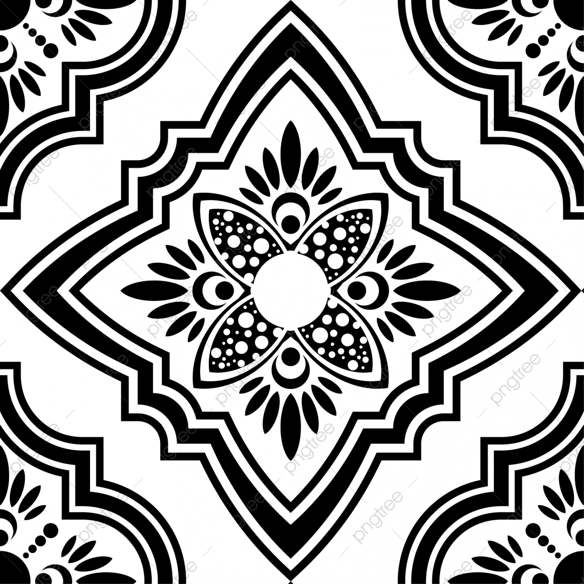 Islamic Seamless Pattern Design With Turkish And Moroccan Ornament Vector In Black And White Color Abstract American Aztec Png And Vector With Transparent Background For Free Download