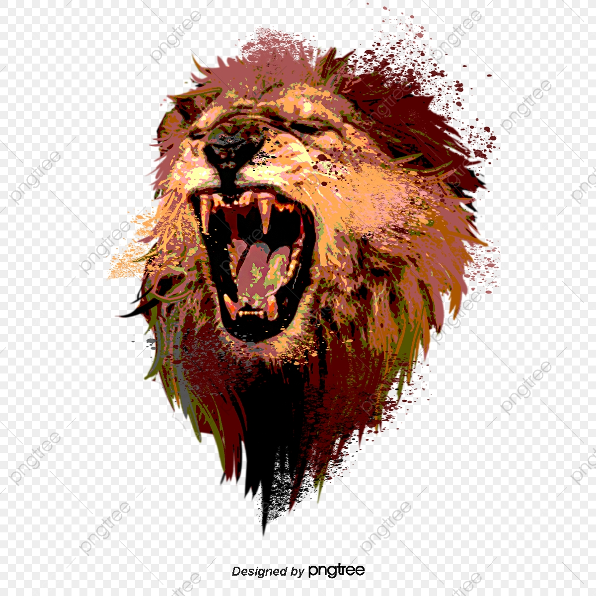 Hand Drawn Elements Of Roaring Lion Roar Male Lion Ferocious Roar Png Transparent Clipart Image And Psd File For Free Download