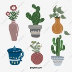 Plant Succulent Cactus Cup Morandi Decorative Sticker Cactus Succulents Plant Png Transparent Clipart Image And Psd File For Free Download