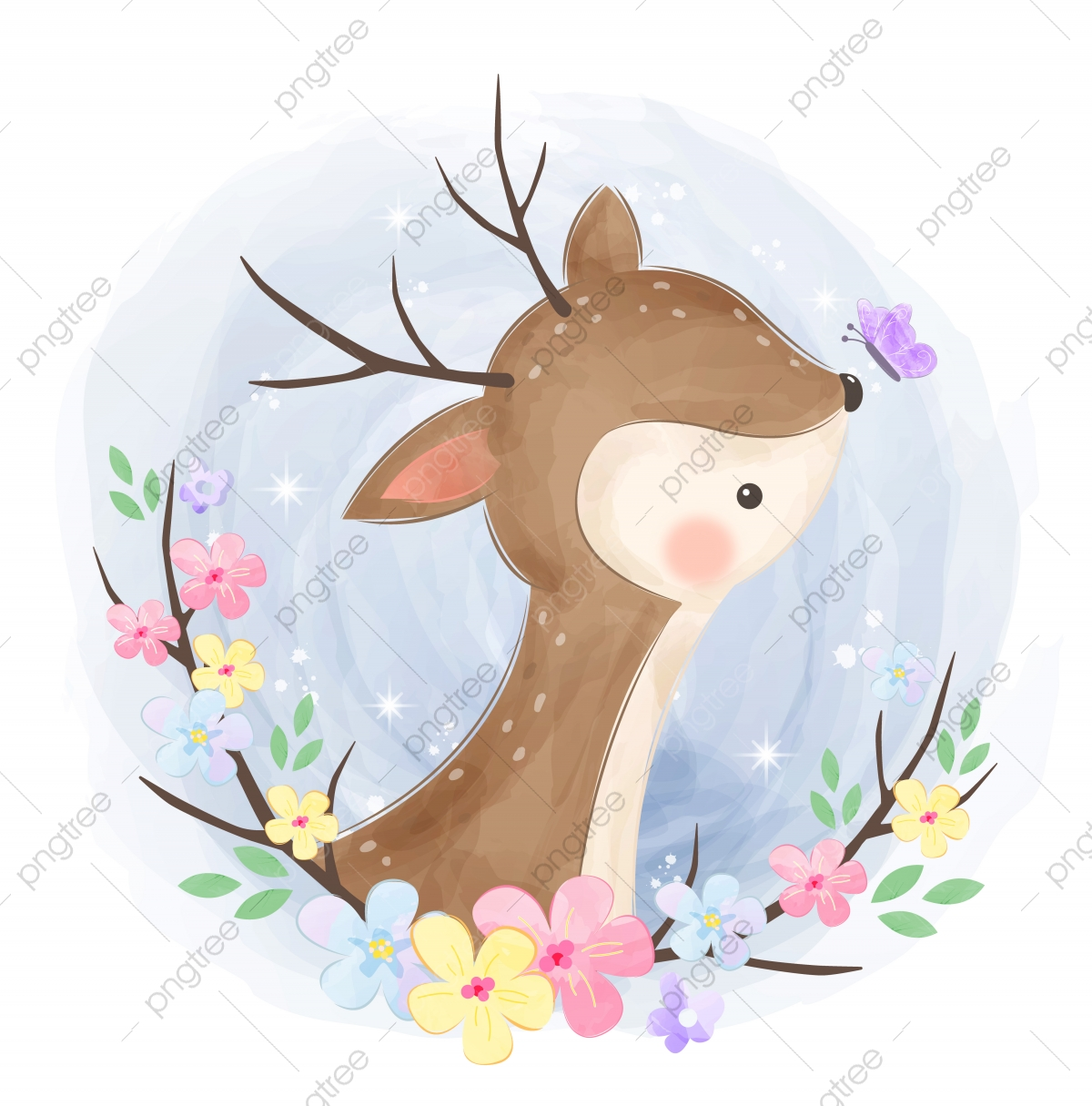 Cute Baby Deer Illustration Baby Shower Cartoon Cute Png And Vector With Transparent Background For Free Download