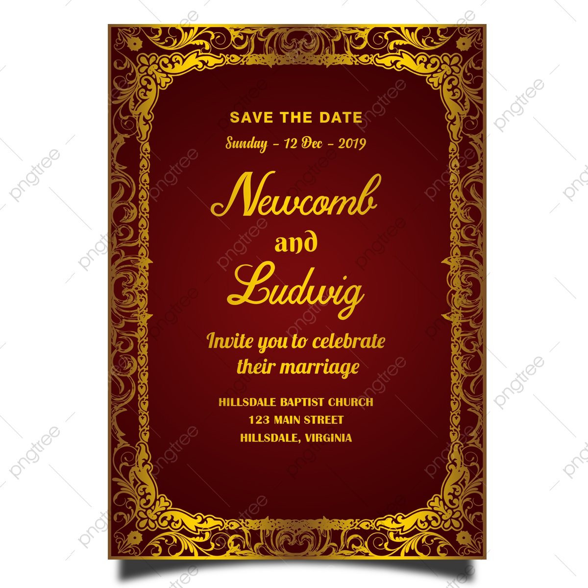 https pngtree com freepng royal wedding invitation card template with gold frame 4176338 html