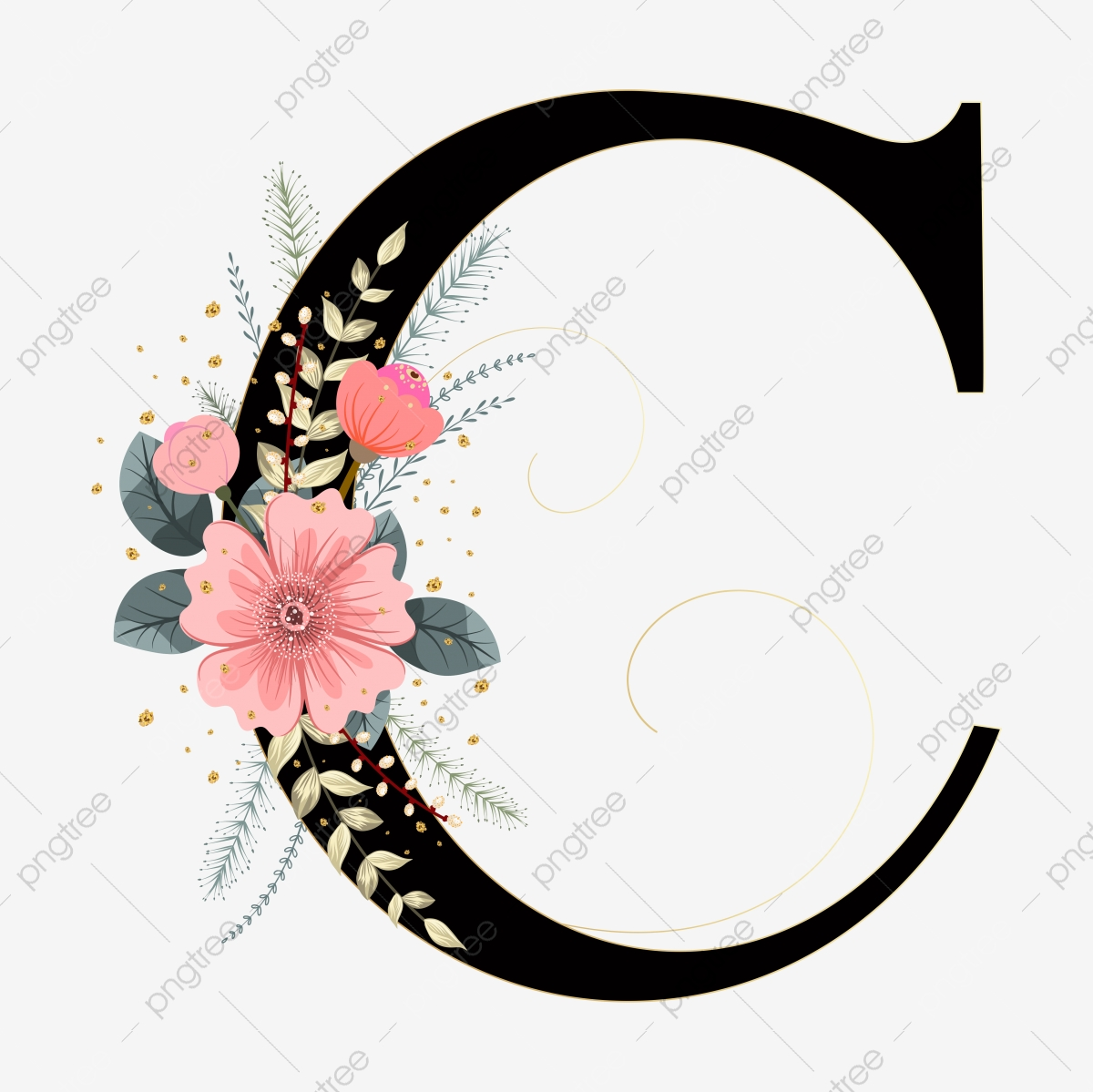 https pngtree com freepng alphabet letter c typography with flowers ornaments and leaves invitation card 5957252 html