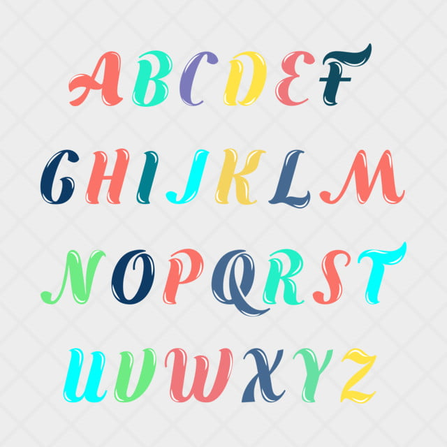 Download English Alphabet Collection Colorful Art Font For Free ...
