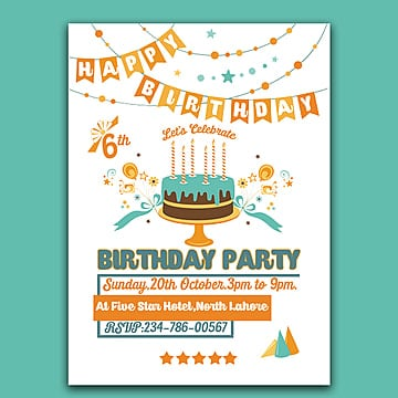6th birthday templates psd design for