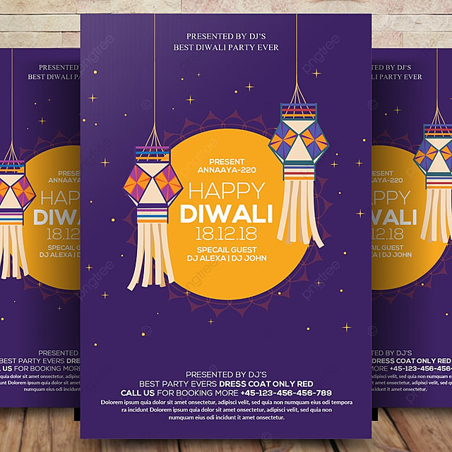 Happy Diwali Celebration Flyer Template For Free Download On