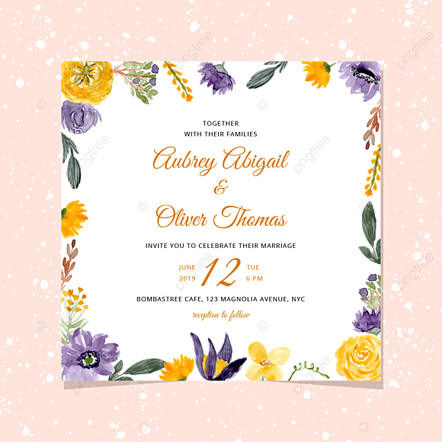 Wedding Invitation With Yellow Violet Watercolor Fl
