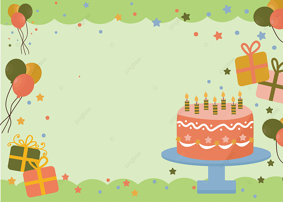 Green Birthday Cake Balloon Background Party Gift Box Cake Background Image For Free Download