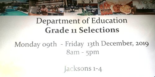 Grade 11 selections 2019