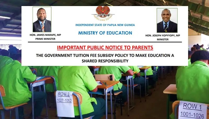 PNG Government Tuition Fee Subsidy Policy 2020
