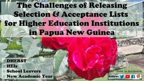PNG uni colleges acceptance lists