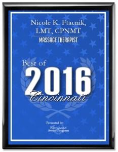 Nicole K. Ftacnik, LMT, CPNMT, receives 2016 Best of Cincinnati Award
