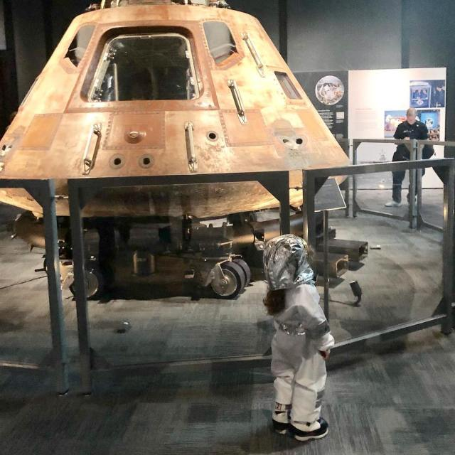 There was an astronaut  enjoying the Destination: Moon  exhibit with us last Sunday