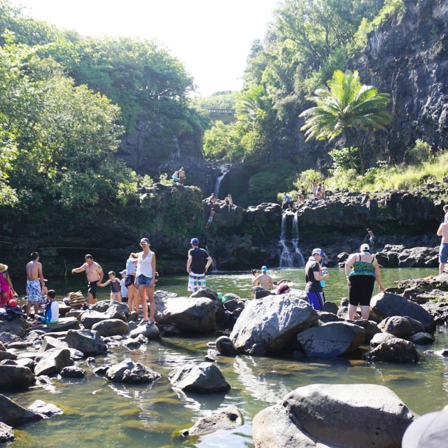 crowds at the open seven sacred pools in Maui