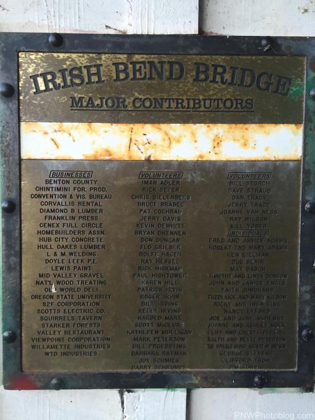 Plaque inside bridge, dedicated to volunteers who put the bridge together.